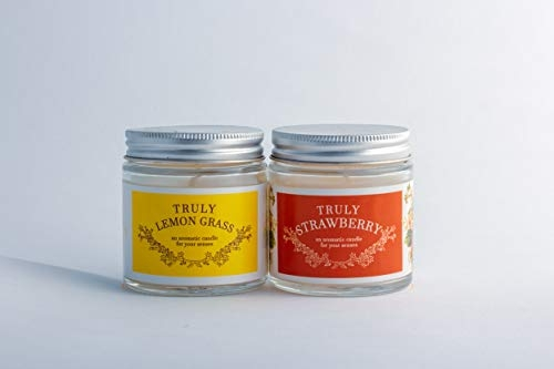 Scented Candles – Sakura Enterprise Scented Wax Candles Jars in True Fragrance and Aroma (Strawberry and Lemongrass)