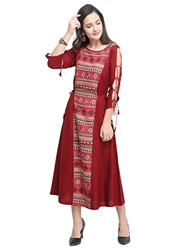 Aarav Fashion Womens Queen Printed Long Kurta (Black_Medium)