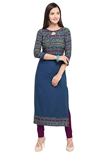 A.K.Fashion Women's Crepe Kurti (Multicolour, Large) -Combo Pack of 3 Piece