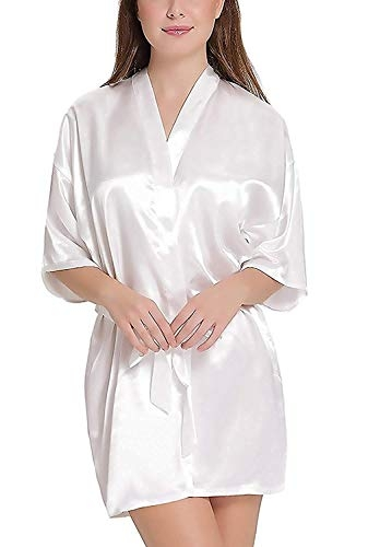 SLKS India Craft Women Satin Kimono Robe V-Neck Sexy Honeymoon Nightwear Nightdress Sleepwear Short Length (Free Size, White)