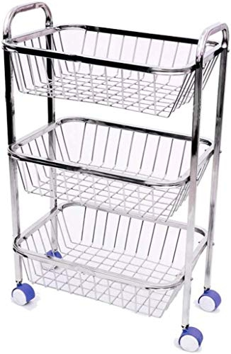 Dinta Mall 3 Layer Fruit and Vegetable Stand/Basket/Trolley Modern Kitchen Storage Rack
