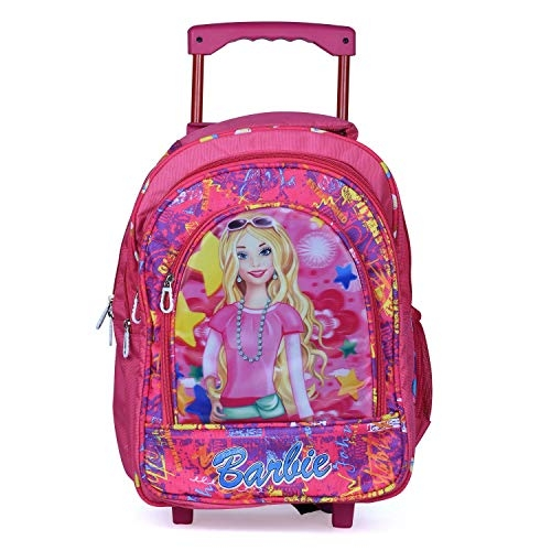STYLBASE Muskan Creation Boy's and Girl's Soft Fabric Wheels Trolley Backpack (Multicolour, Medium)