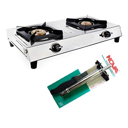 `Surya L P Gas Stainless Steel 2 Burner Cooktop Gas Stove with Noa Gas Lighter