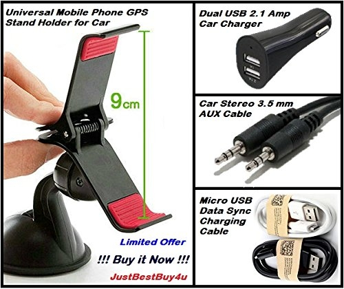 car mobile holder and charger combo – Techspell Combo Car Mobile Holder +Dual USB Car Charger +Aux Cable +Micro USB Charge Cable