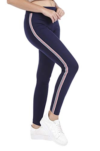 BLINKIN Mesh Yoga Gym Zumba Workout and Active Sports Fitness Navy Blue Leggings Tights for Women|Girls (4110-Navy) (size-34)