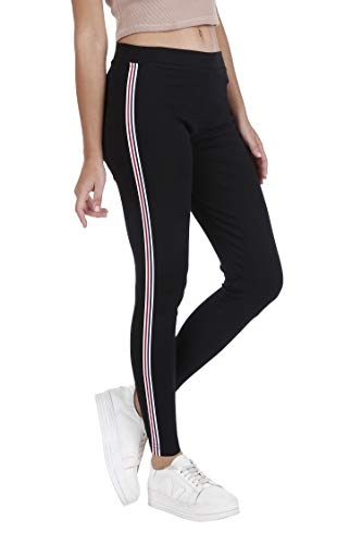 BLINKIN Yoga Gym Workout and Active Sports Fitness Black Stripe Polyester Leggings Tights for Women|Girls(5550) (size-28)