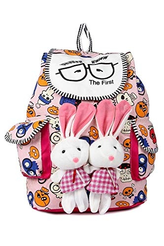 Trendifly Canvas Bunny Backpack Bag for Women and College Girls (Multi Colour)