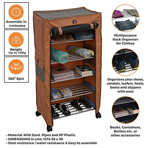 Online Shoe Rack | Trendy Classics 6 Shelves Utility Shoe Rack, Mild Steel Collapsible Shoe Rack Shoes Cabinet with Wheel and Cover