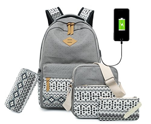 Vezela 4Pc Combo Of Laptop Bag With Usb Charging Feature With Lunch Bag, Pencil Case & Pouch (Grey)