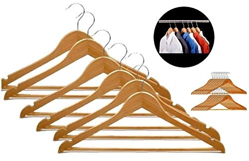 Viya Products Wooden Clothes Hangers/Hangar, Brown (Pack of 6) Model 206962