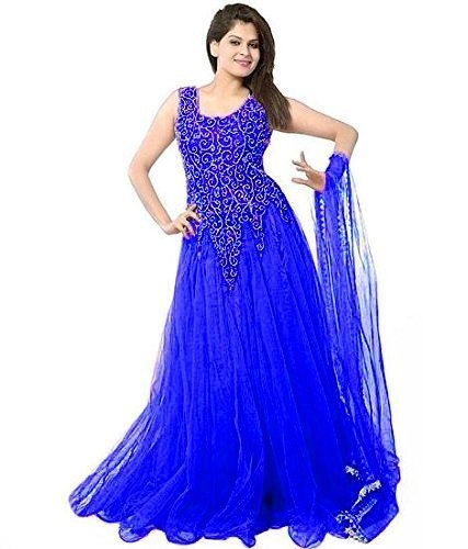 VKARAN Women's Net Semi-stitched Gown (Blue, Free Size)