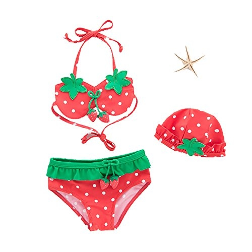 Coromose 3Pcs/Set Girls Bikini Set Mermaid Tail Princess Swimsuit Red DH47 120