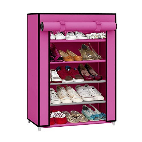 Shoe Rack With Cover | YUTIRITI 5 Layer Shoe Rack with Cover Space Saver Storage Organiser
